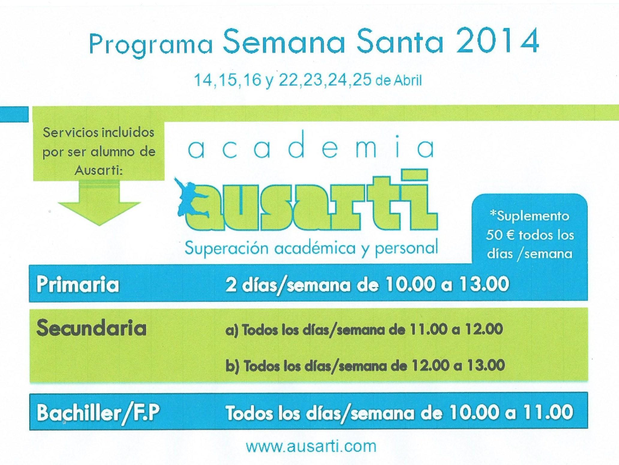Consulta tus servicios gratuitos por ser alumno habitual en Semana Santa (del 14 al 25 de abril)